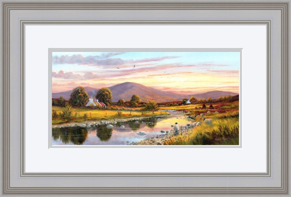 Cottage In The Sperrins Print in Grey Frame
