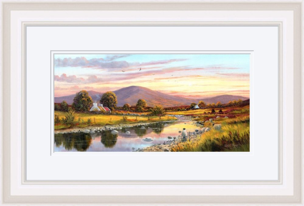 Cottage In The Sperrins Print in White Frame