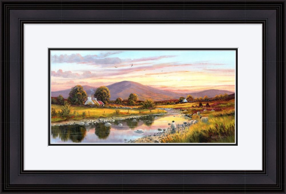 Cottage In The Sperrins Print in Black Frame