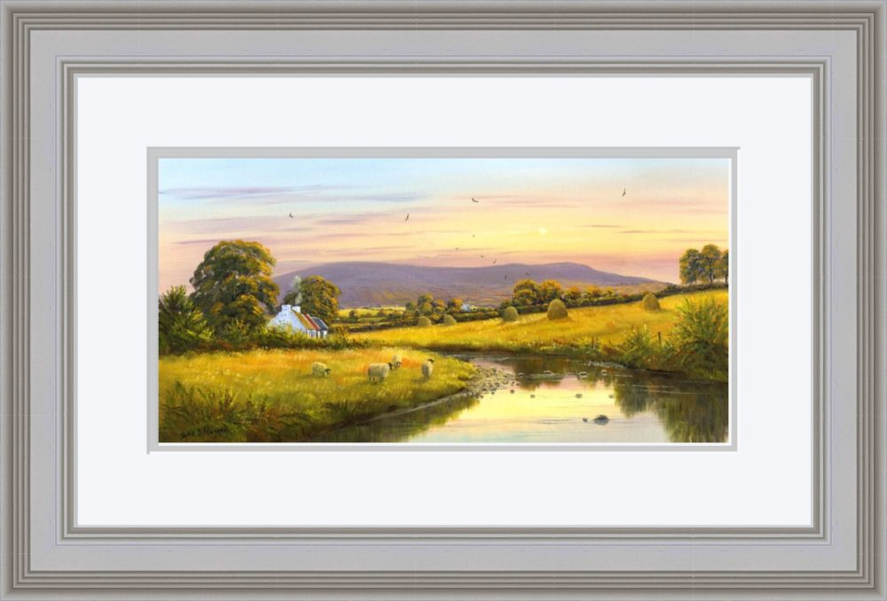 Evening at Slieve Gallion Print in Grey Frame