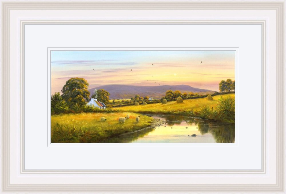 Evening at Slieve Gallion Print in White Frame