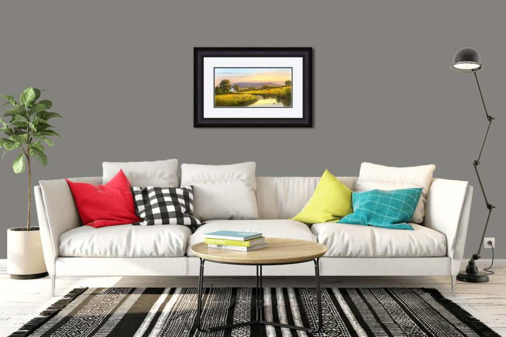 Evening at Slieve Gallion Print in Black Frame in Room