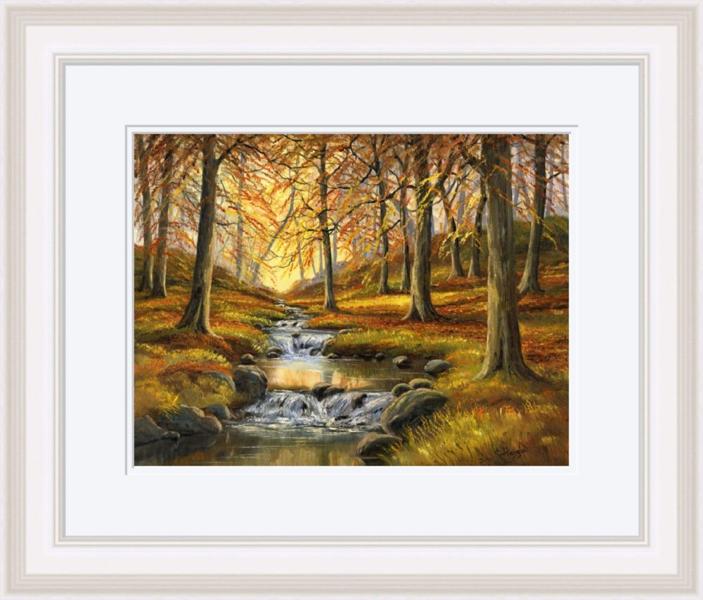 Autumn Stream Print (Large) in White Frame