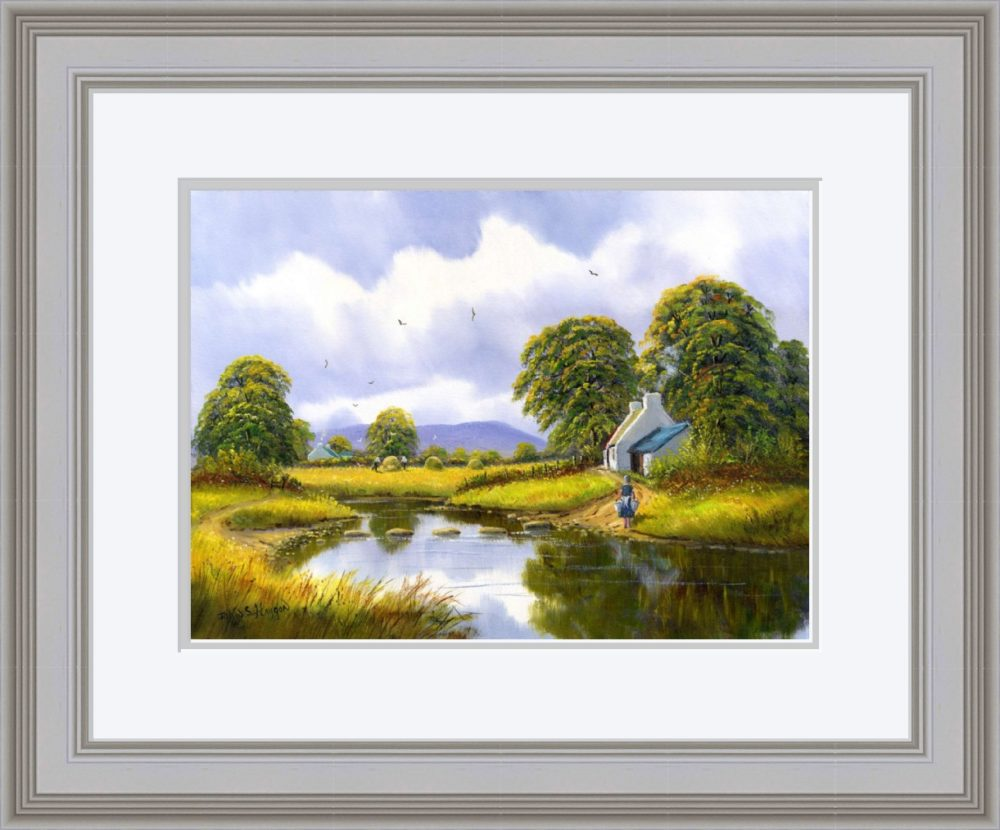 Hay Making Near Gallion Print (Large) in Grey Frame