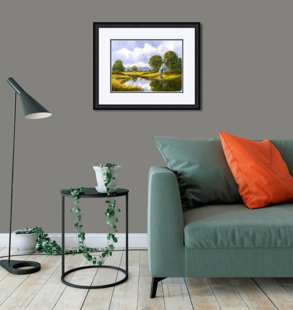 Hay Making Near Gallion Print (Medium) in Black Frame in Room