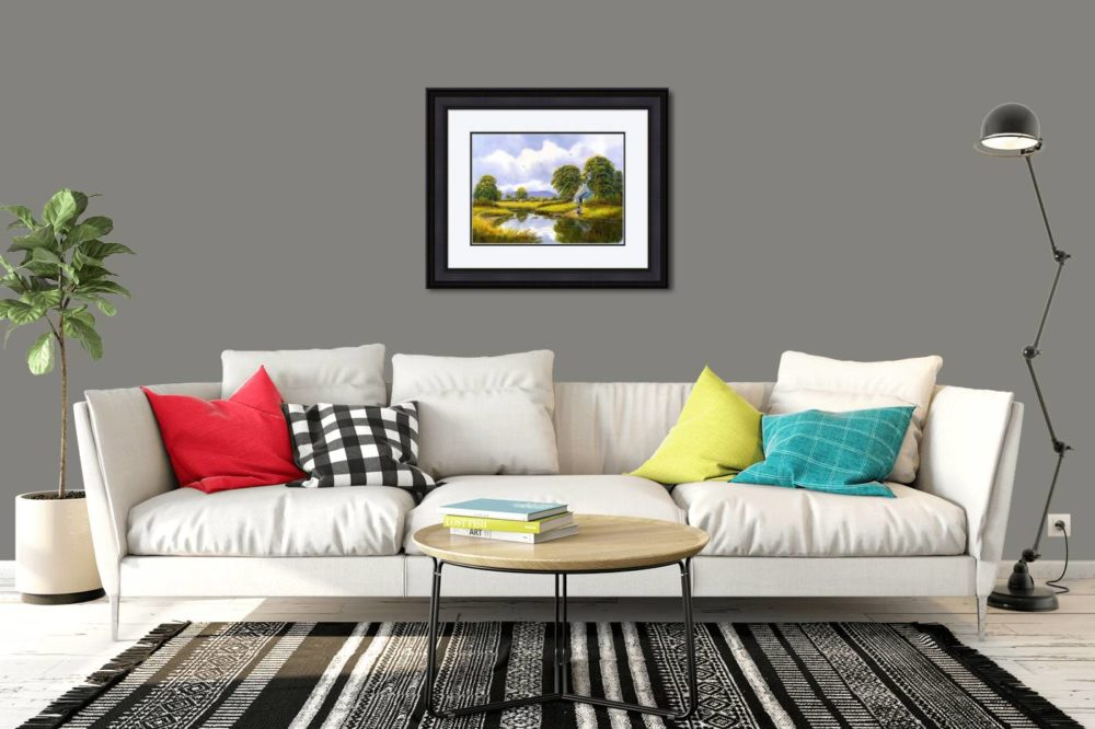 Hay Making Near Gallion Print (Large) in Black Frame in Room