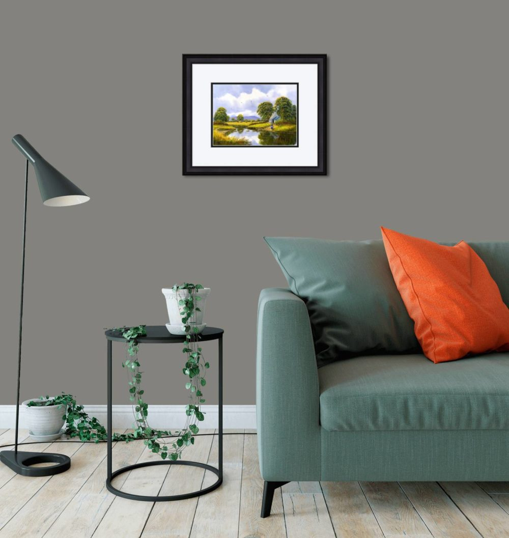 Hay Making Near Gallion Print (Small) in Black Frame in Room
