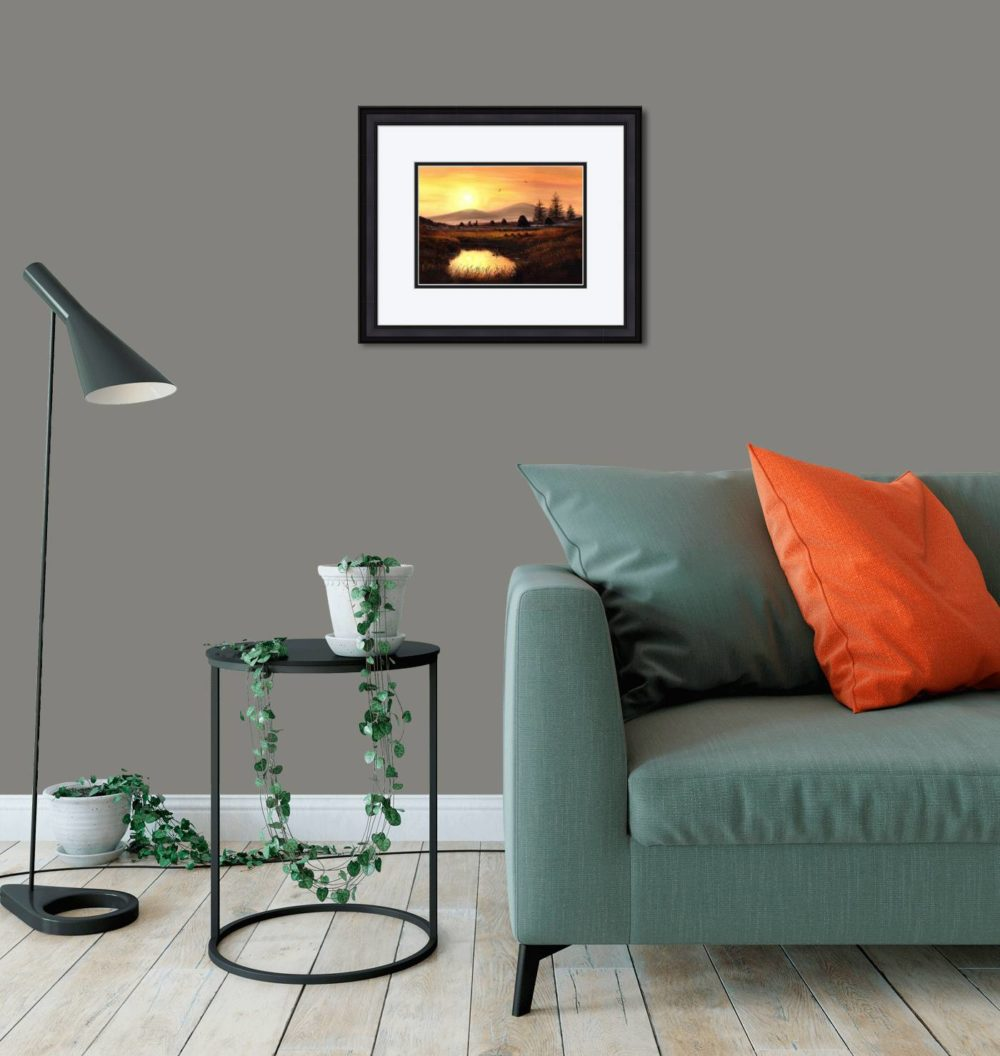 As Evening Falls Print (Small) in Black Frame in Room