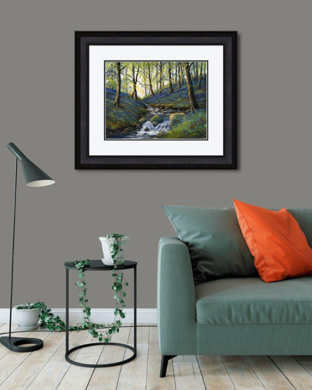 Bluebells Slatequarry Print (Large) in Black Frame in Room