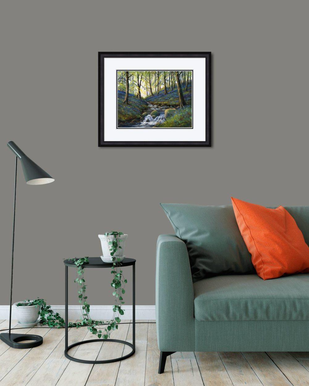 Bluebells Slatequarry Print (Medium) in Black Frame in Room