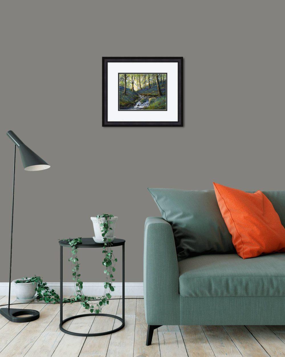 Bluebells Slatequarry Print (Small) in Black Frame in Room