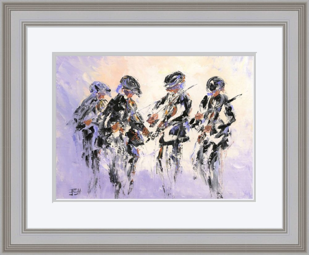 Fiddlers Four Print (Large) in Grey Frame