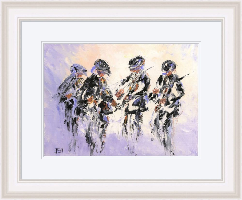 Fiddlers Four Print (Large) in White Frame