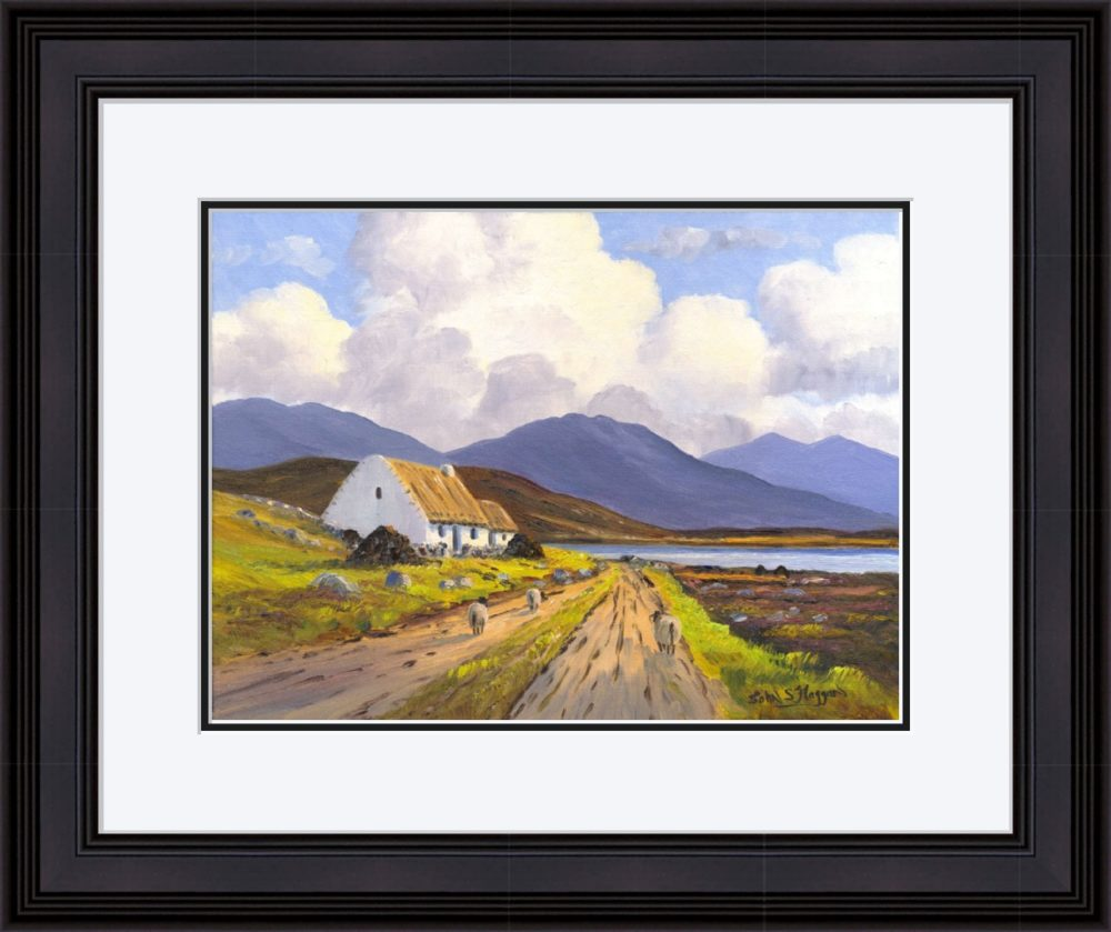 Connemara Cottage Print (Large) in Black Frame