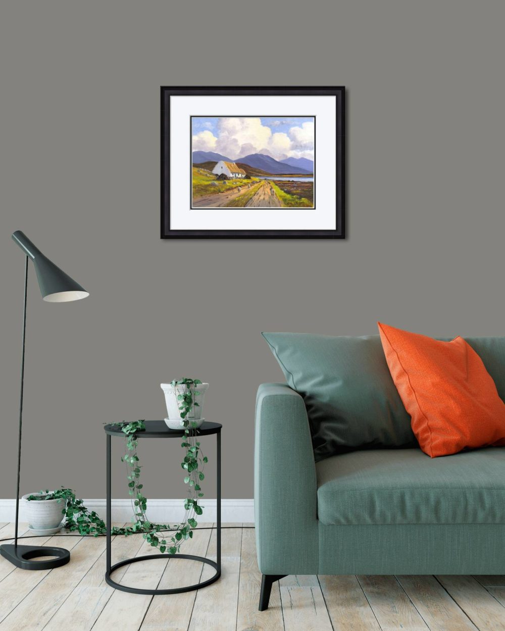 Connemara Cottage Print (Medium) in Black Frame in Room