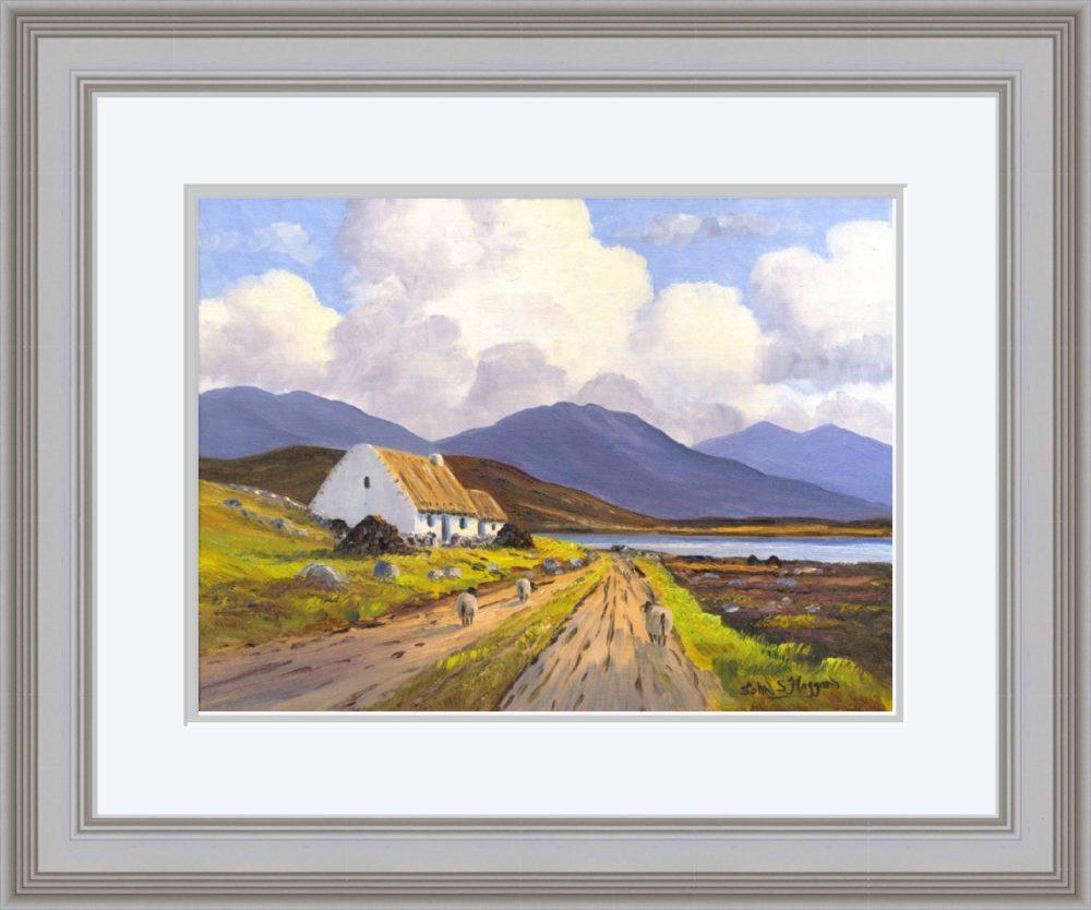 Connemara Cottage Print (Large) in Grey Frame