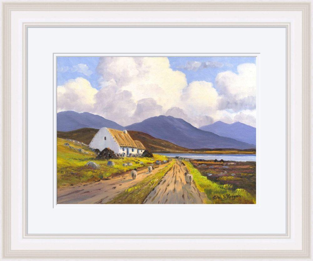Connemara Cottage Print (Large) in White Frame