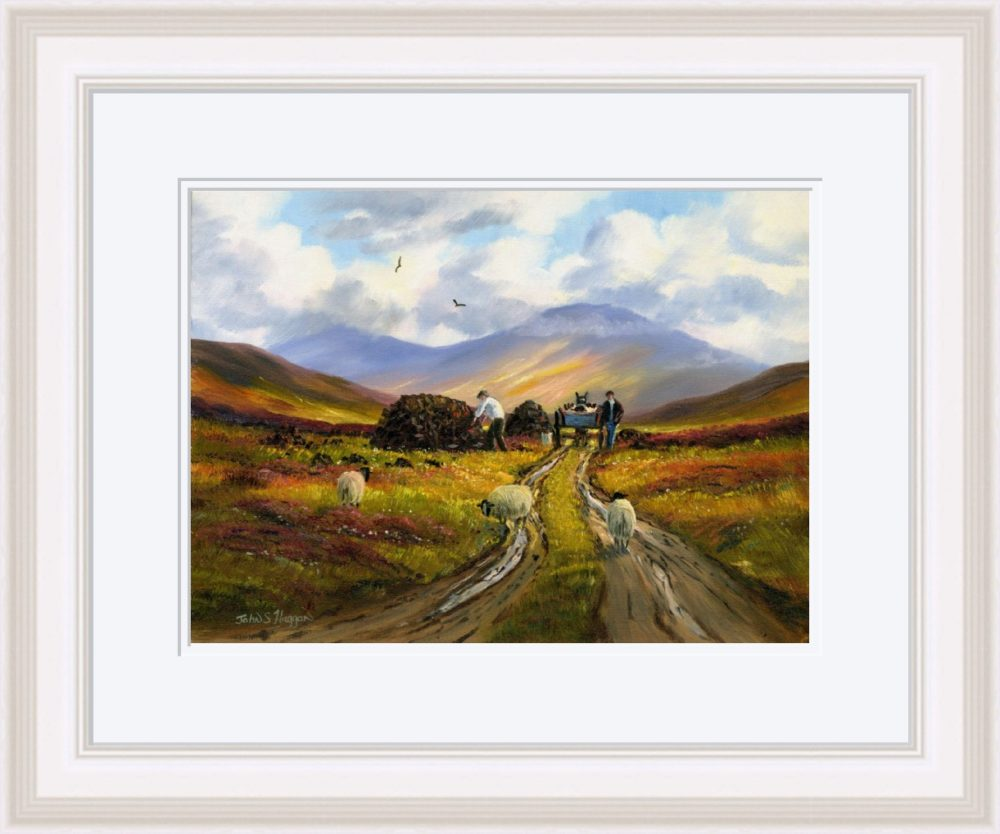 Collecting The Turf Print (Large) in White Frame