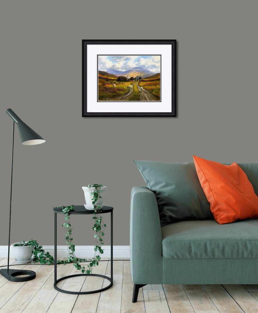 Collecting The Turf Print (Medium) in Black Frame in Room