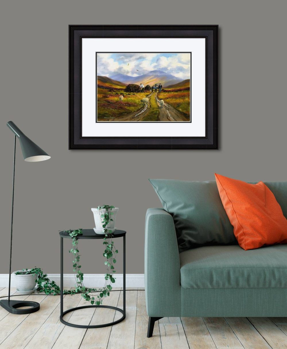 Collecting The Turf Print (Large) in Black Frame in Room