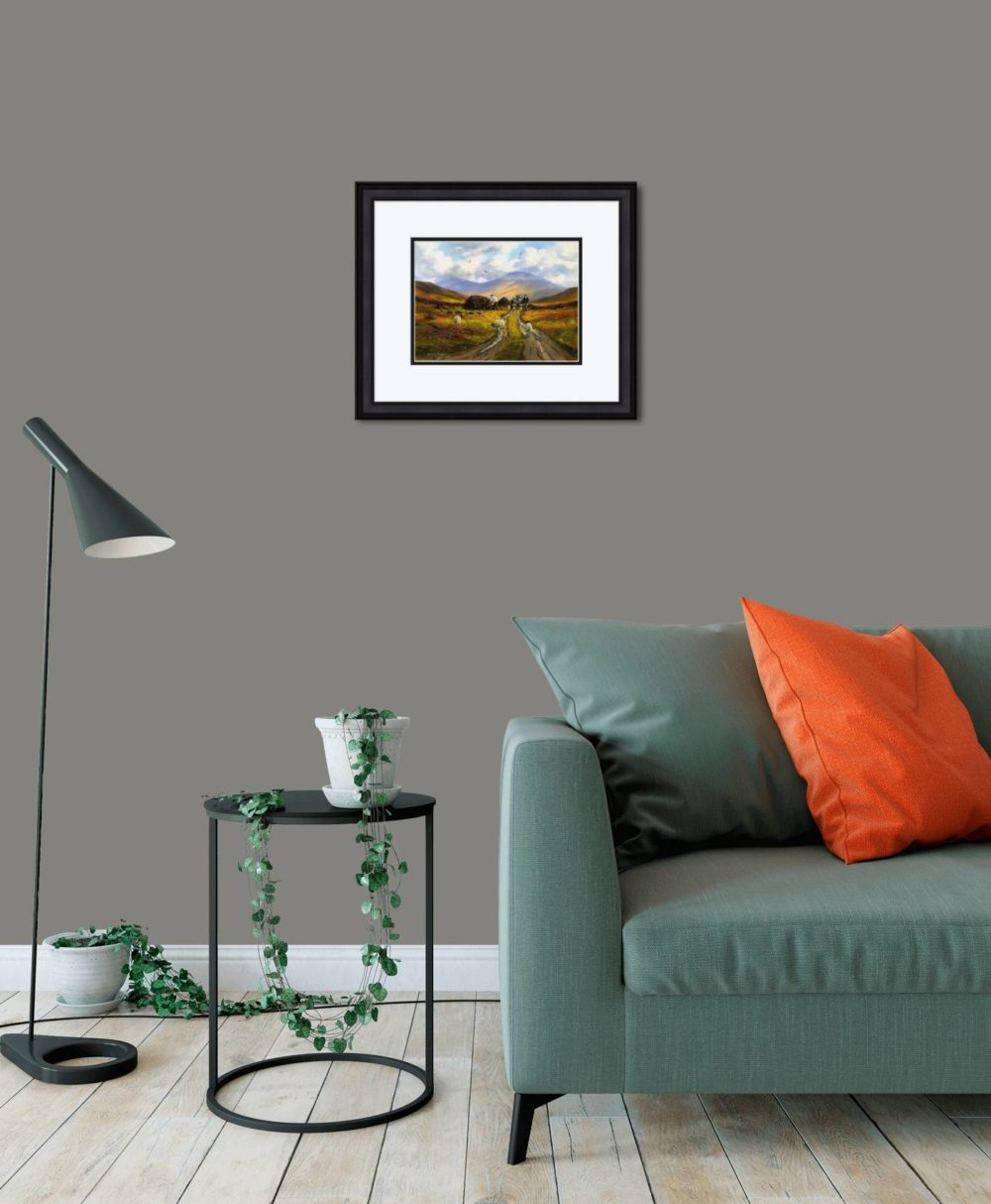 Collecting The Turf Print (Small) in Black Frame in Room