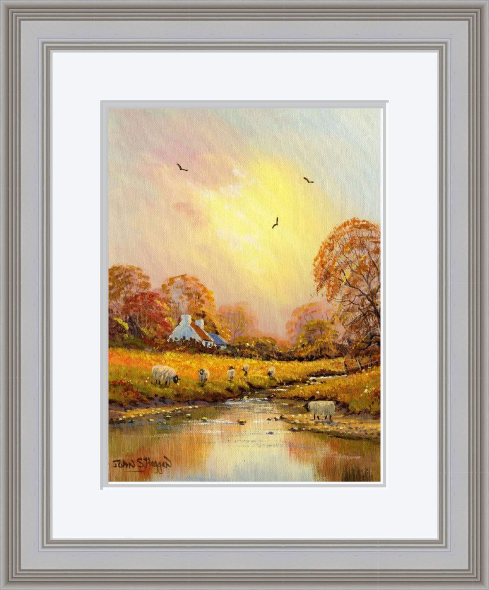 Autumn Stream Print (Large) in Grey Frame