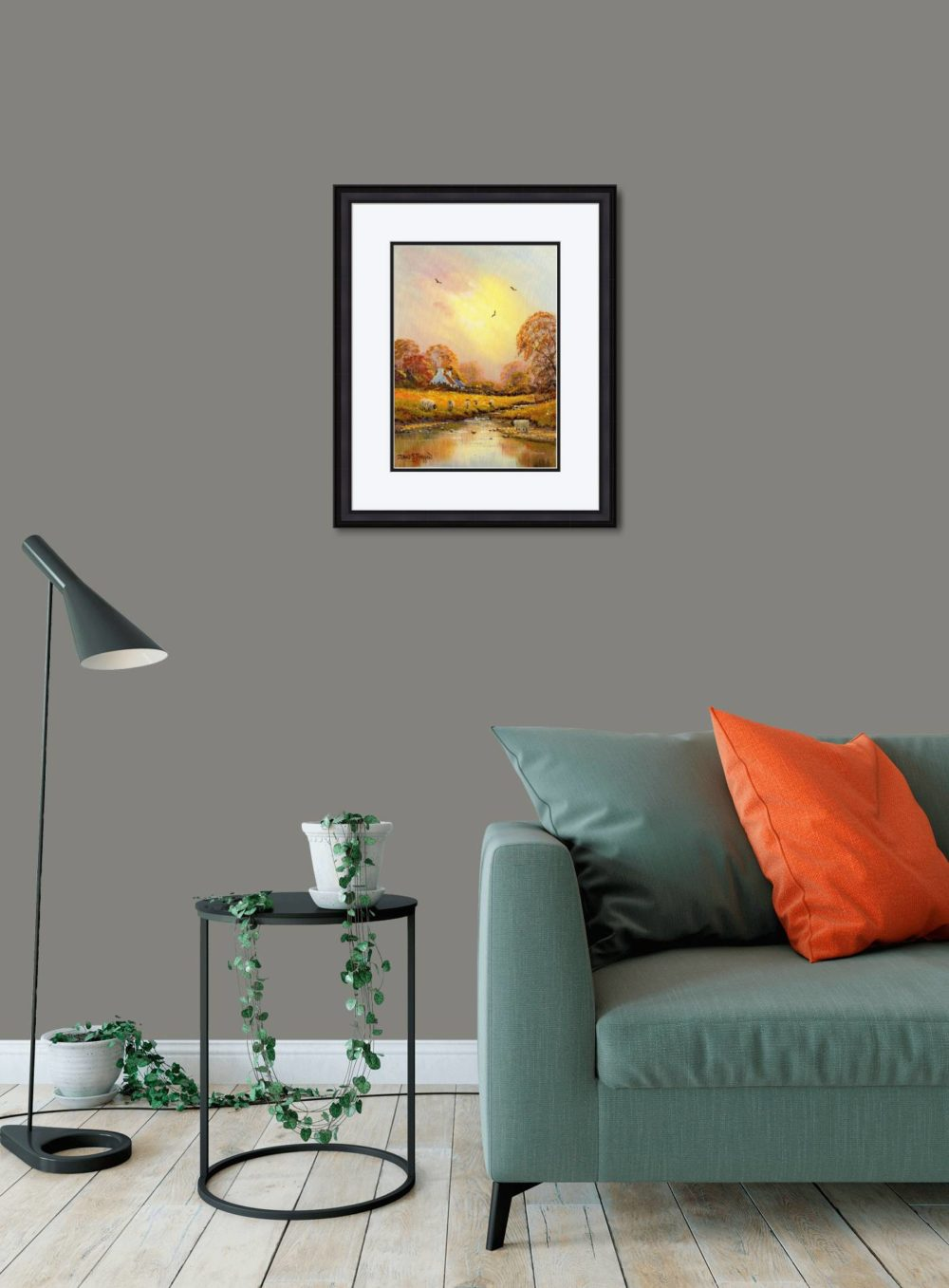 Autumn Stream Print (Medium) in Black Frame in Room