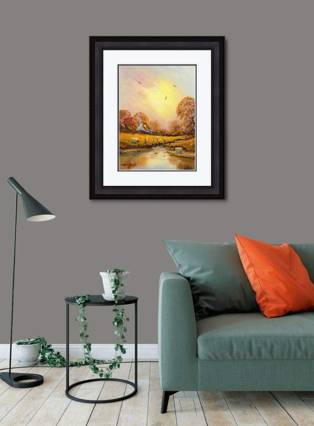 Autumn Stream Print (Large) in Black Frame in Room