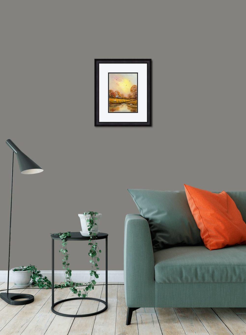 Autumn Stream Print (Small) in Black Frame in Room