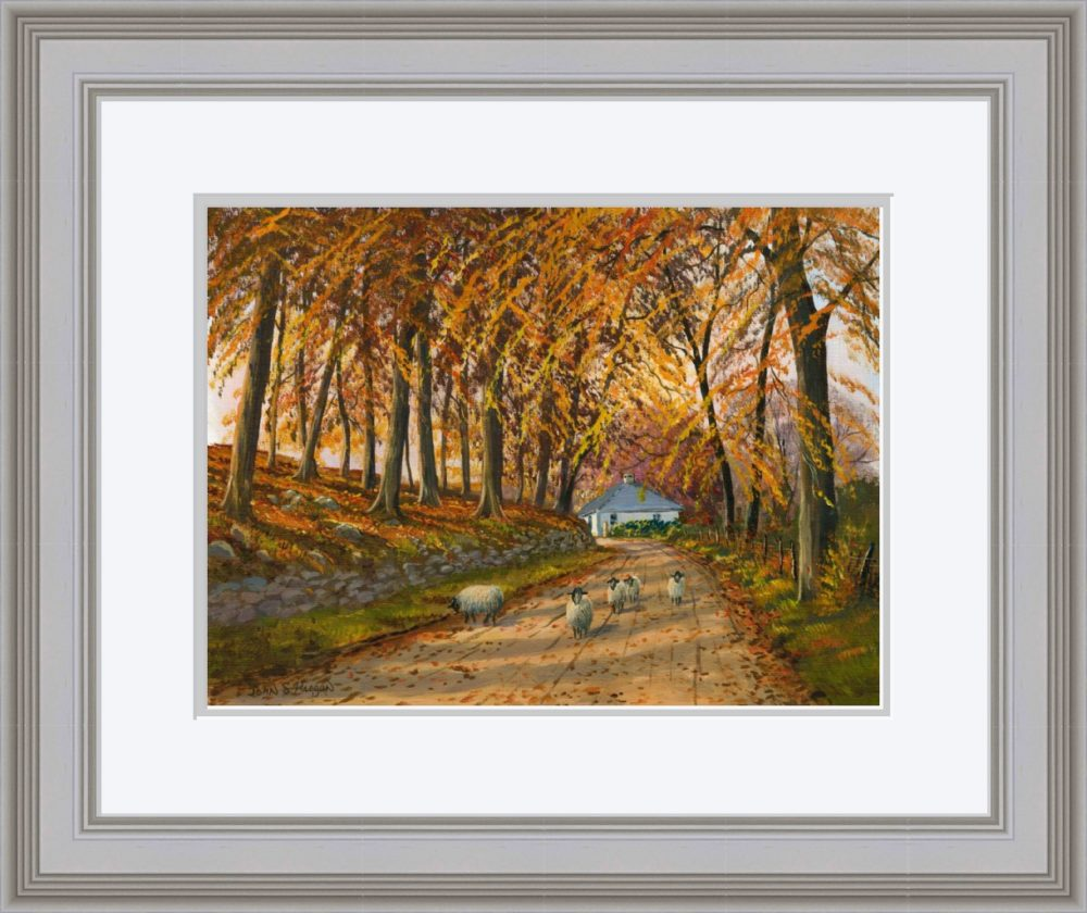 Autumn At Wellbrook Print (Large) in Grey Frame