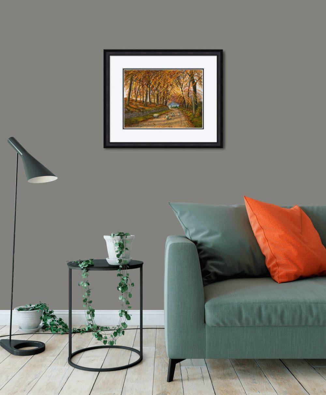 Autumn At Wellbrook Print (Medium) in Black Frame in Room