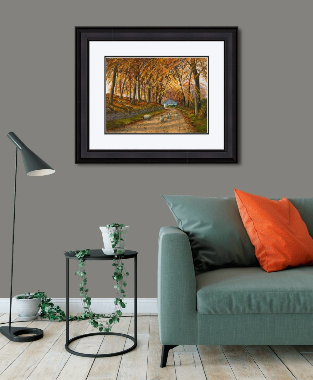 Autumn At Wellbrook Print (Large) in Black Frame in Room