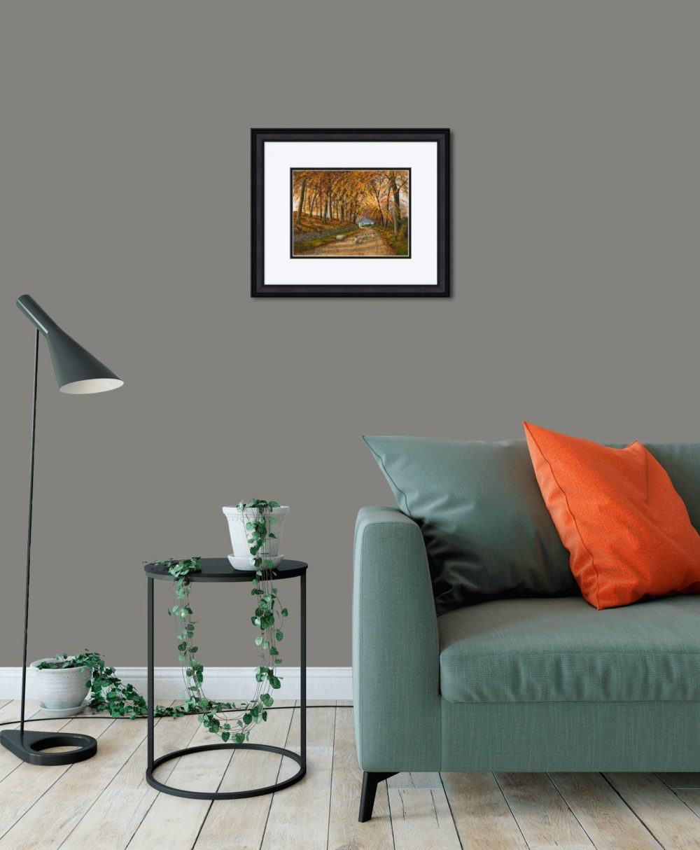 Autumn At Wellbrook Print (Small) in Black Frame in Room