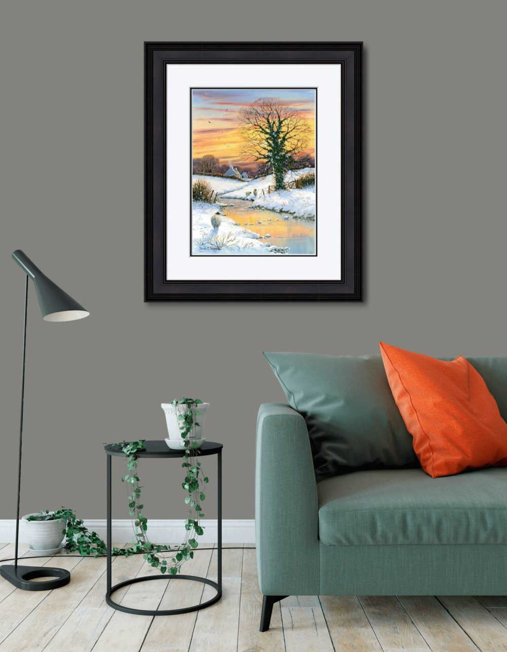 First Snows Of Winter Print (Large) in Black Frame in Room