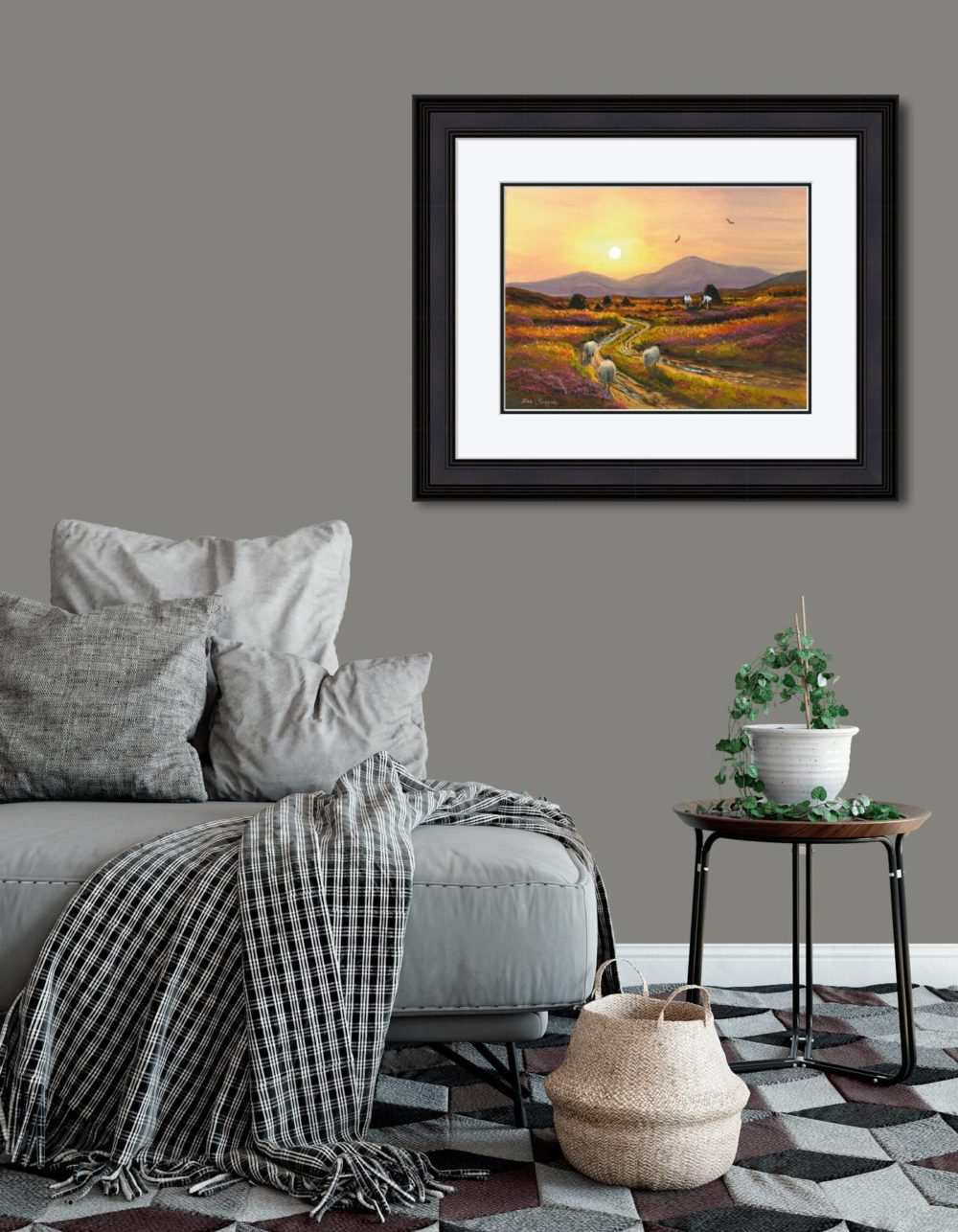 Gathering Turf At Twilight Print (Large) in Black Frame in Room