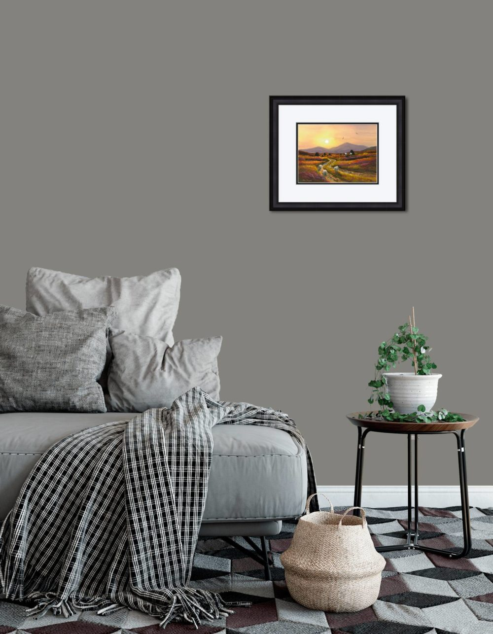 Gathering Turf At Twilight Print (Small) in Black Frame in Room