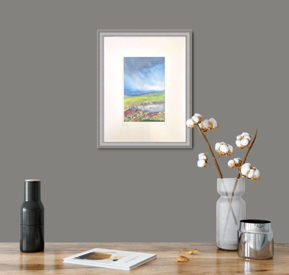 Bog Cotton in Grey Frame in room