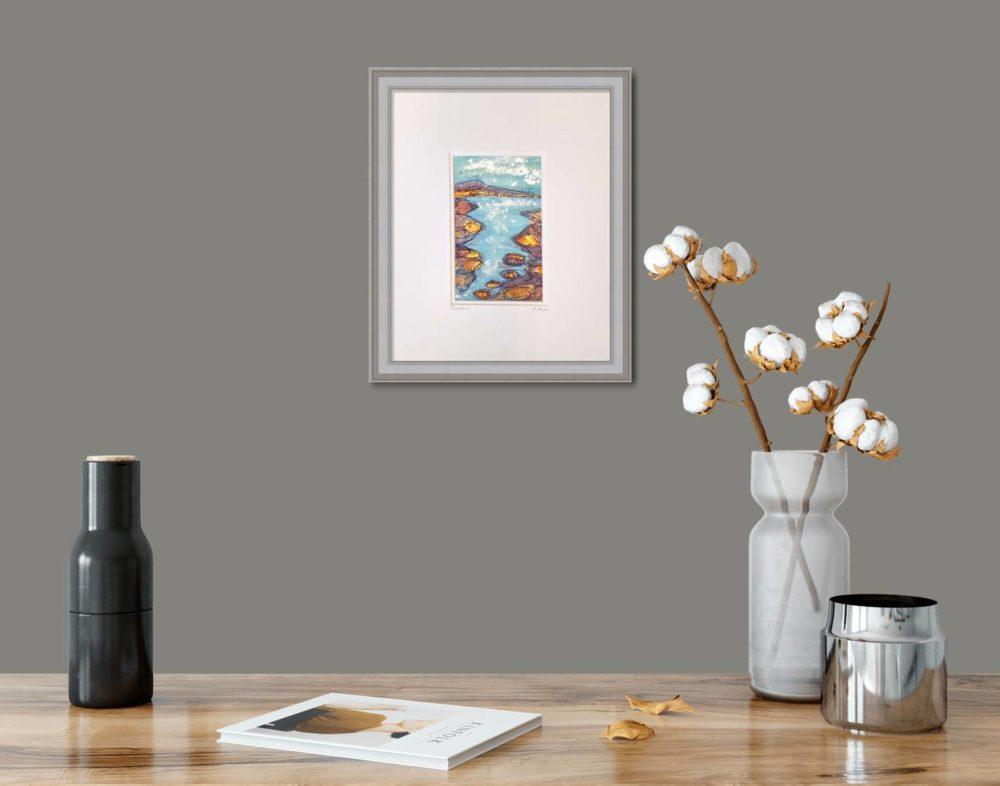 Coastline in Grey Frame in room