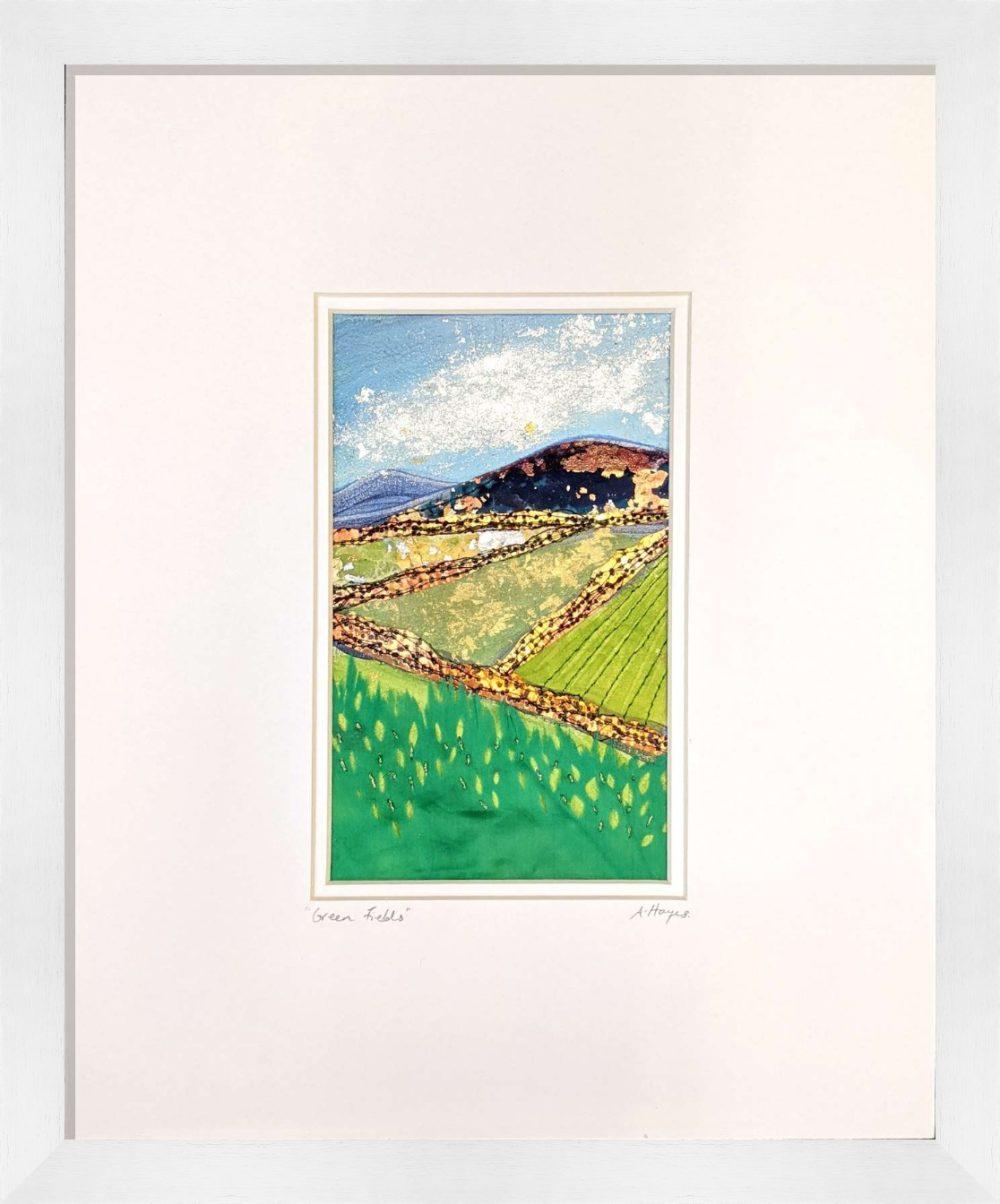 Green Hills in White Frame