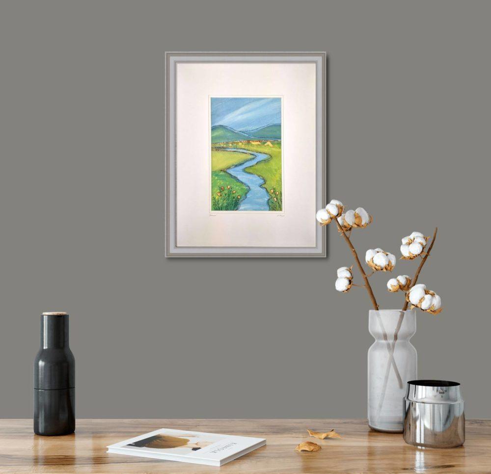 Stream in Grey Frame in Room