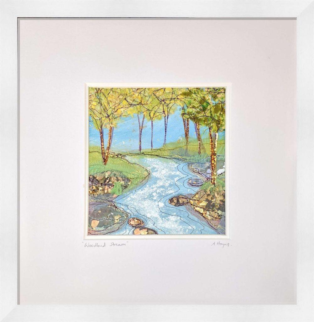 Woodland Stream in White Frame
