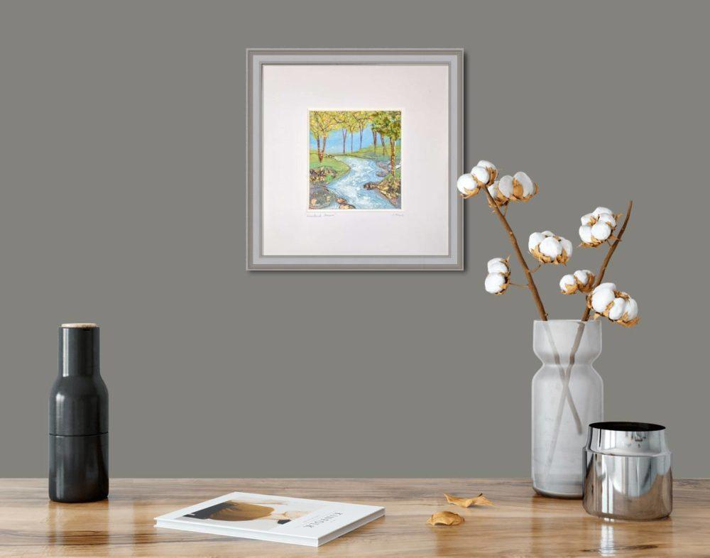 Woodland Stream in Grey Frame in Room
