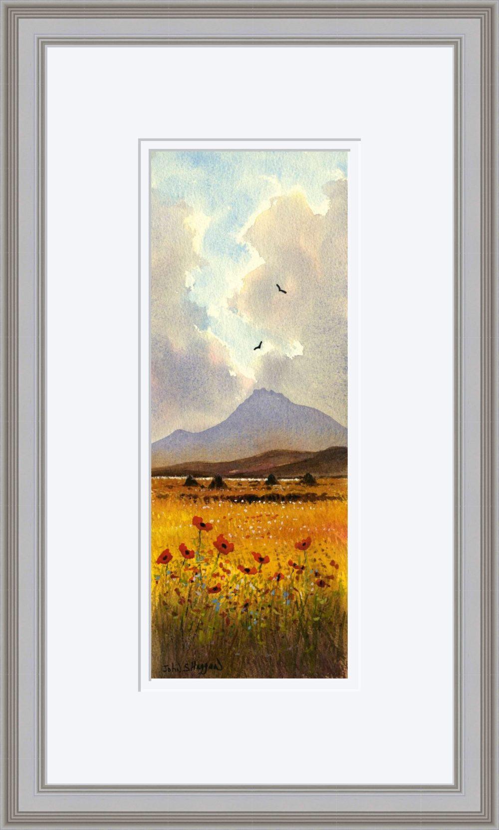 Connemara Poppies Print in Grey Frame