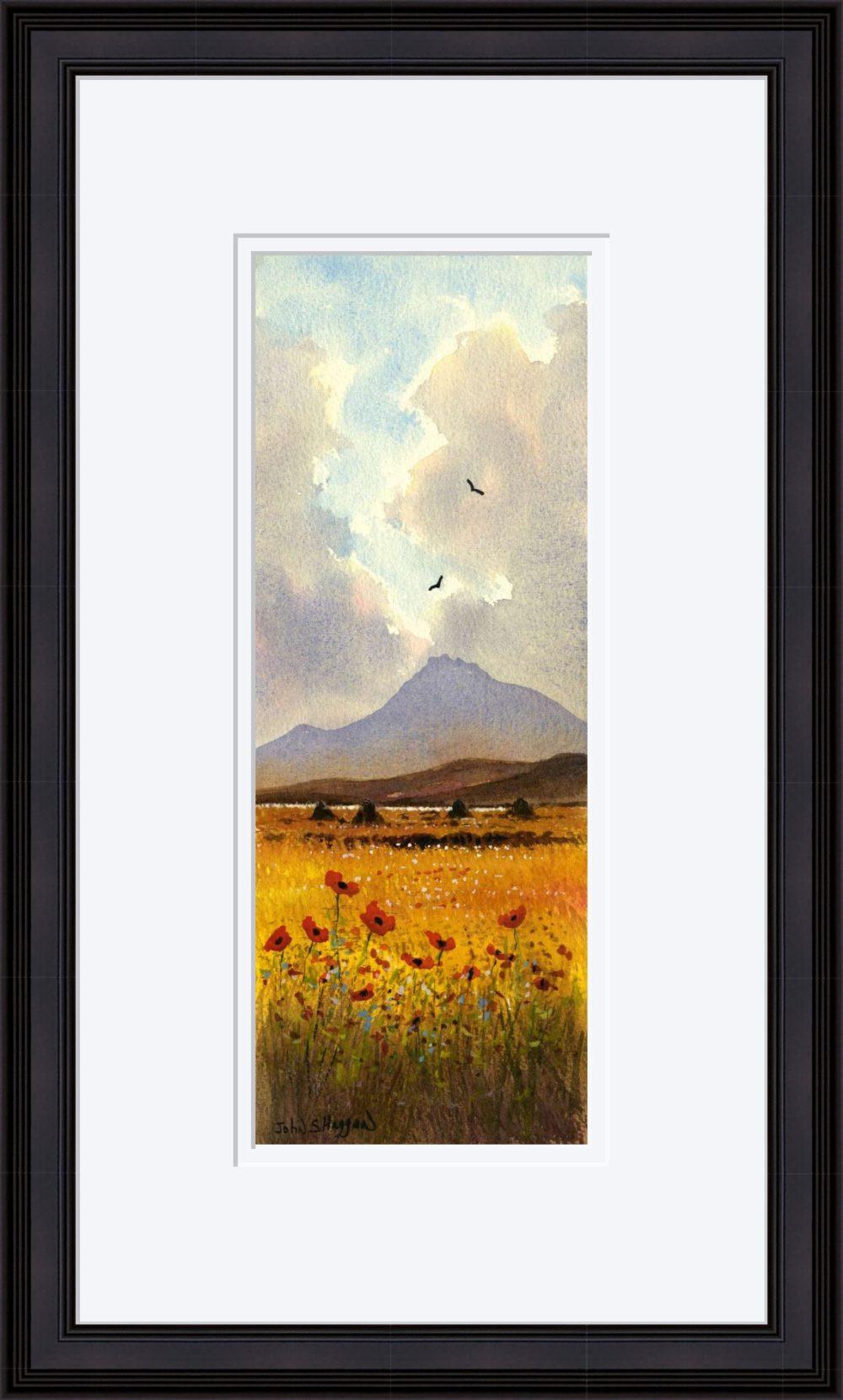 Connemara Poppies Print in Black Frame