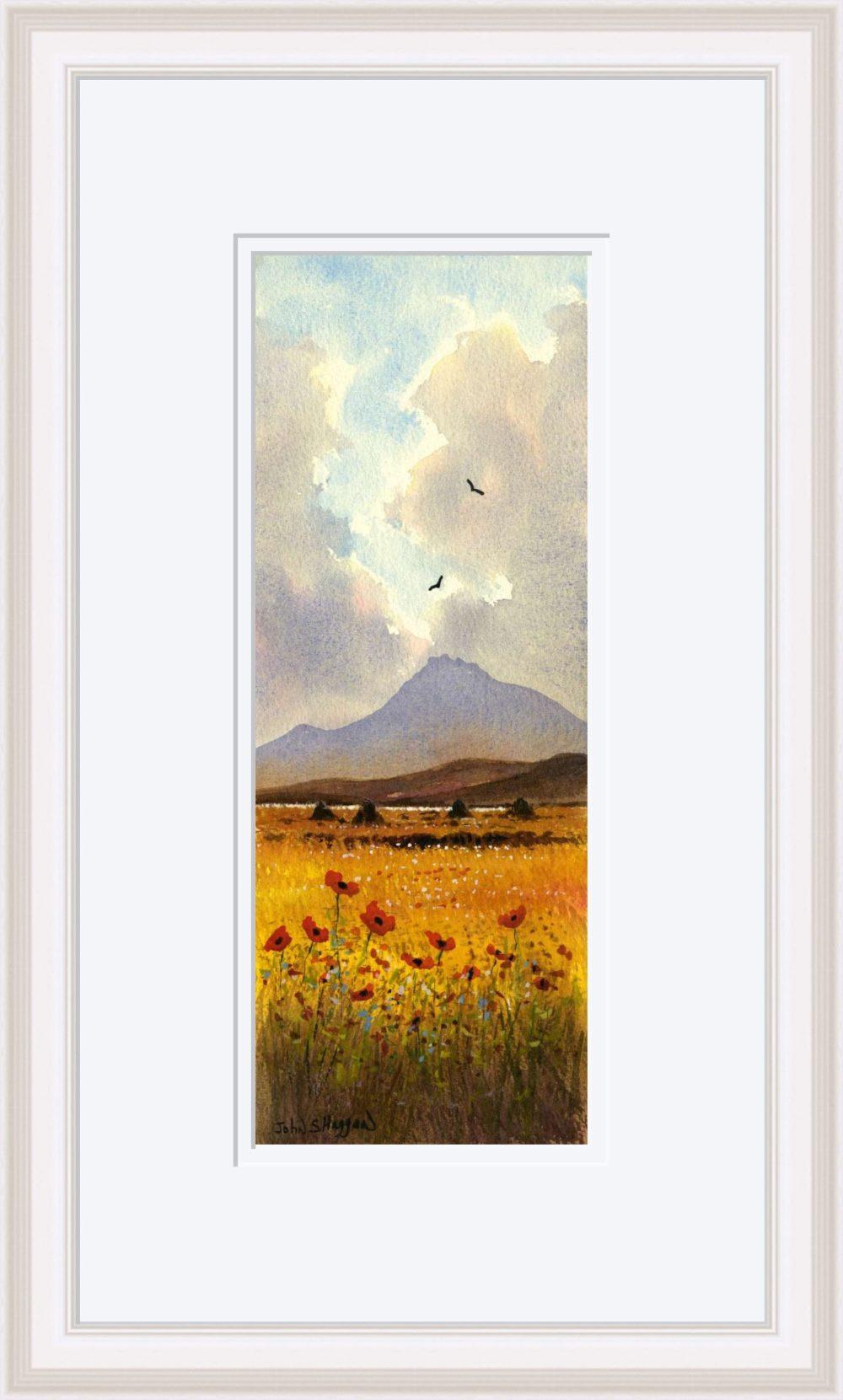 Connemara Poppies Print in White Frame