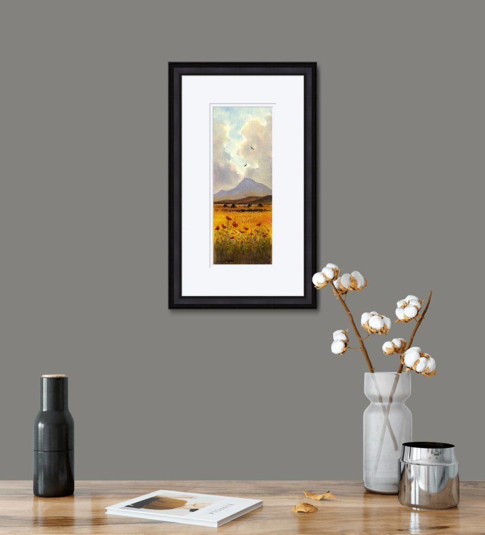 Connemara Poppies Print in Black Frame in Room