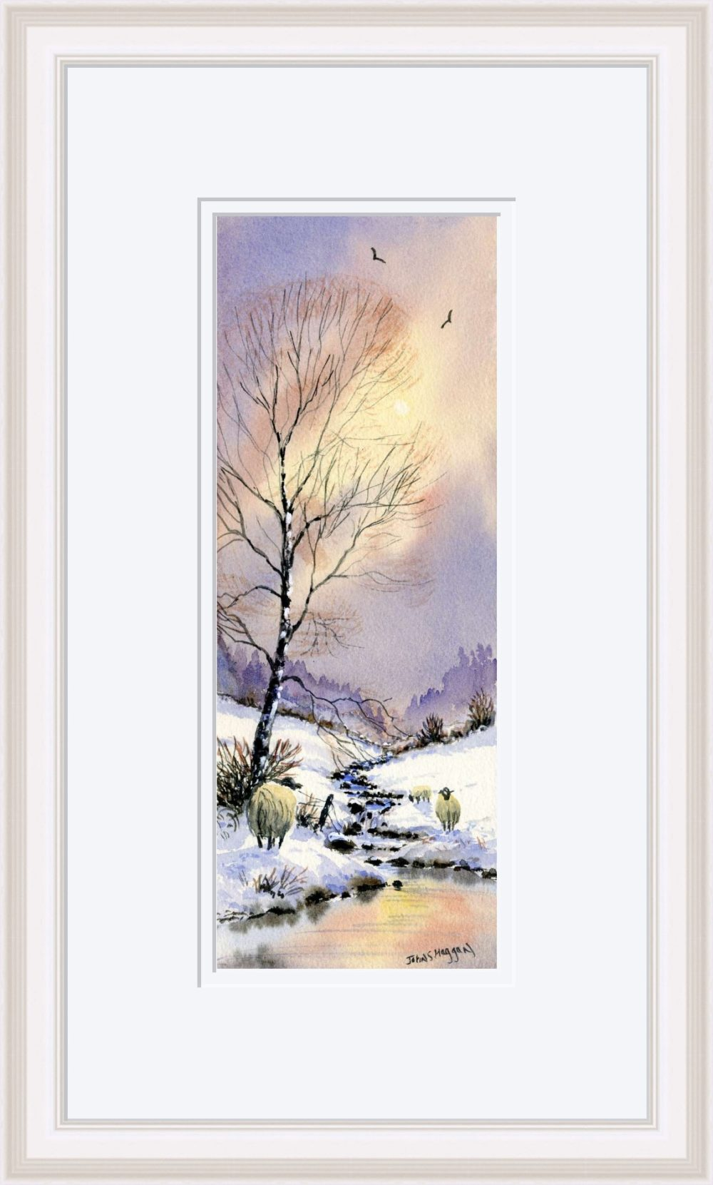 Early Snow Print in White Frame