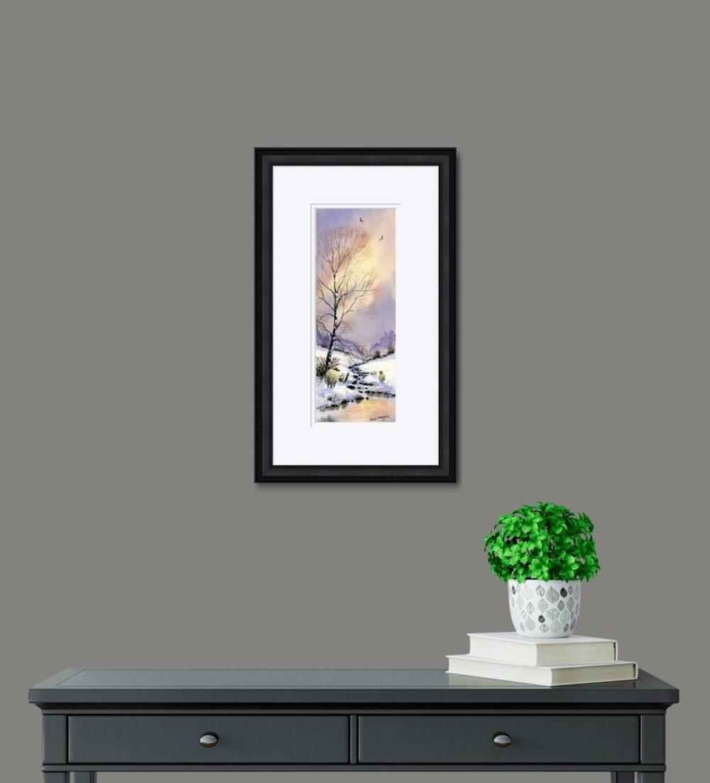 Early Snow Print in Black Frame in Room