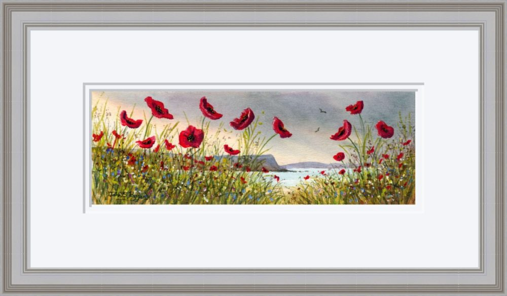 Causeway Flowers Print in Grey Frame