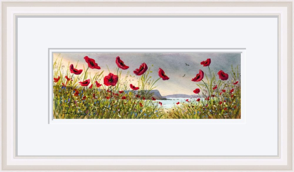 Causeway Flowers Print in White Frame